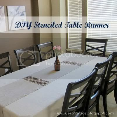 stenciled table runner by weiya @ enjoyer of grace
